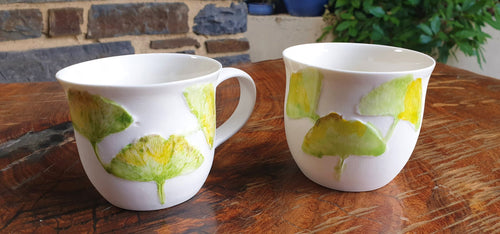Ginkgo cup - porcelain by Just Jane Ceramics