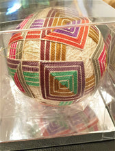 Load image into Gallery viewer, Temari - Sand coloured base with multi coloured squares - Annie Reid