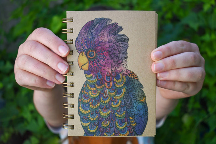 'Colourful Cockatoo' 100 page A6 Notebook with kraft paper-Stationery-Atelier Crafers