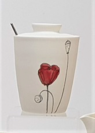 Poppy Sugar Pot with lid - porcelain by Just Jane Ceramics