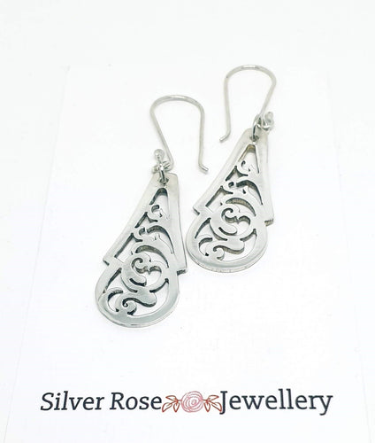 Vintage Sterling Silver Pierced Spoon handle earrings - Silver Rose Jewellery