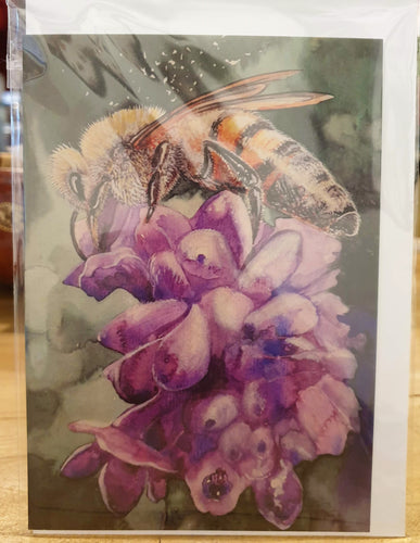 Greeting Card - Watercolour of Bee on Lavender Flower-Homewares-Atelier Crafers
