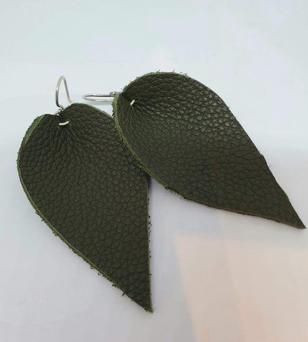 Autumn green leather and sterling silver tear drop earrings