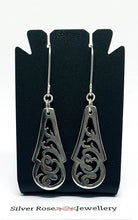 Load image into Gallery viewer, Vintage Sterling Silver Pierced Spoon handle earrings - Silver Rose Jewellery