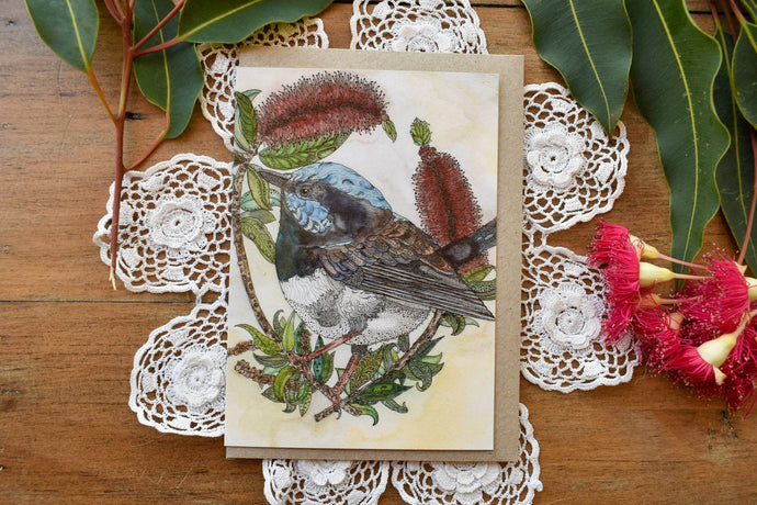 Greeting Card - Blue Wren - Zinia King-Homewares-Atelier Crafers