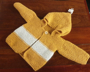 Hand Knitted Wharfie Jacket 6-9 months - Mustard with Cream stripe-Children-Atelier Crafers
