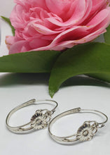Load image into Gallery viewer, Vintage Sterling Silver Flower hoops - Silver Rose Jewellery-Jewellery-Atelier Crafers