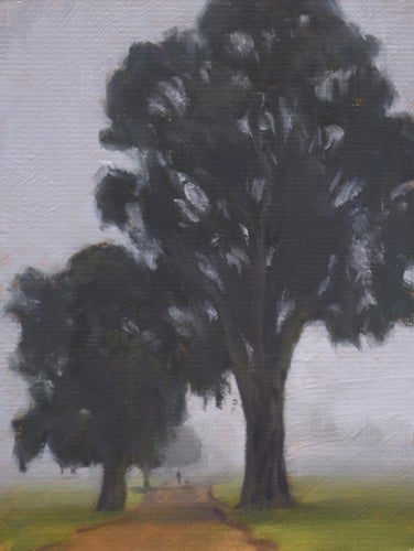 Misty Morning, Victoria Park - Oil on Board by Trevor Newman-Art Gallery-Atelier Crafers