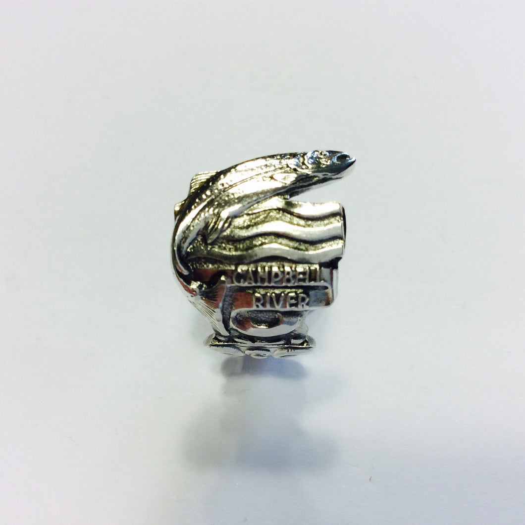 Vintage Sterling Silver Campbell River Souvenir Spoon Ring - Size O-Jewellery-Atelier Crafers