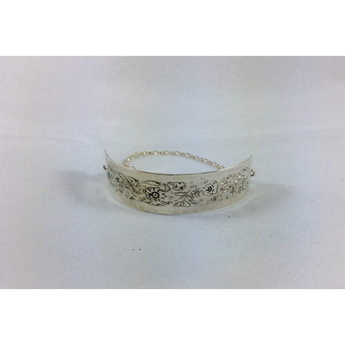 sterling silver floral etched bracelet-Jewellery-Atelier Crafers