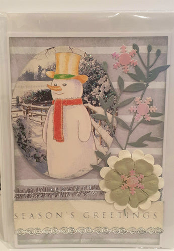 Christmas Card - Handmade - Season's Greetings - Snowman - Kaye Esplin