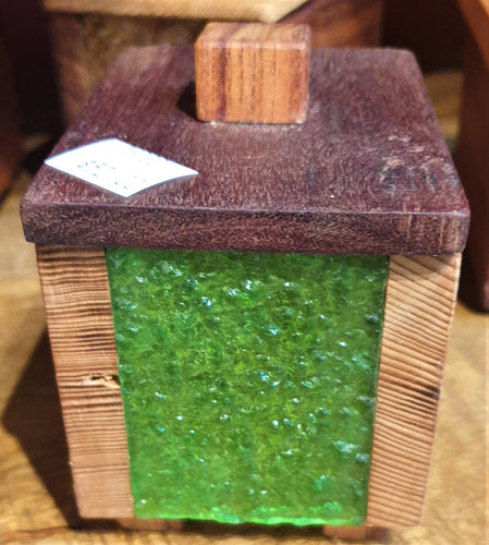 Small Treasure Box- reclaimed timber with green heritage glass