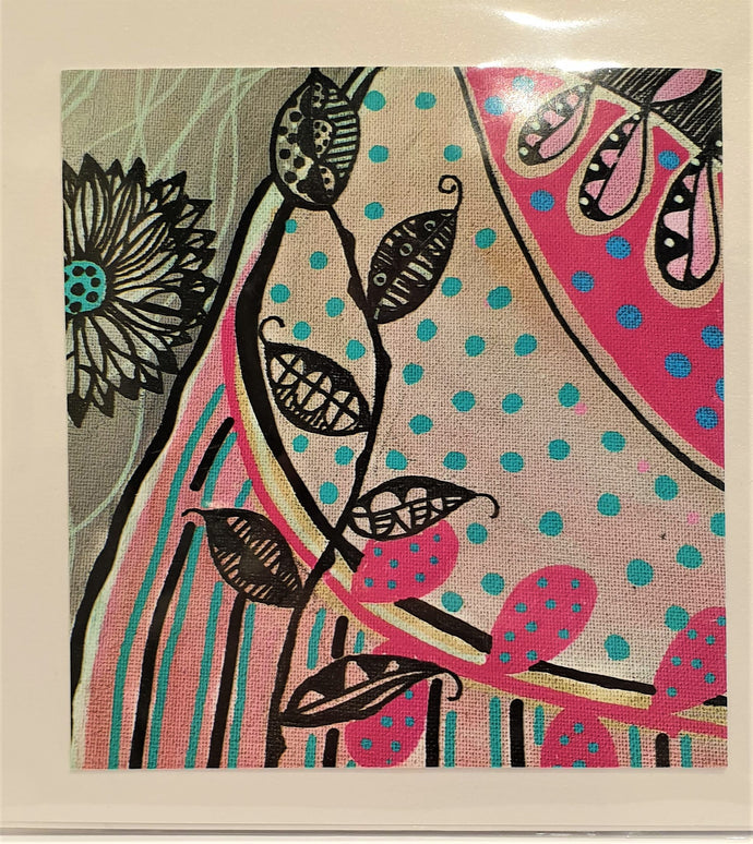 Large Greeting Card - Pink & Blue Bliss - Robin Mellors