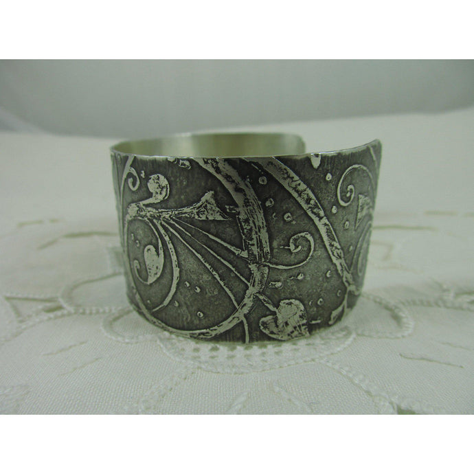 Sterling silver art nouveau etched cuff-Jewellery-Atelier Crafers