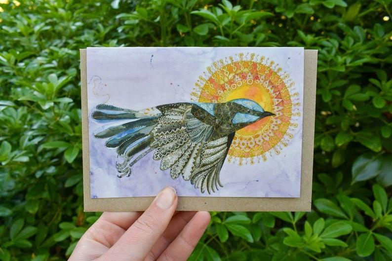 Greeting Card - Superb Fairy Wren - Zinia King-Homewares-Atelier Crafers