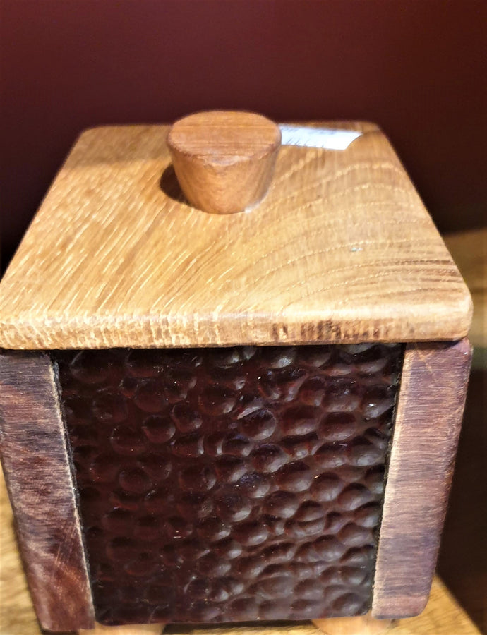 Small Treasure Box- reclaimed timber with red bubble heritage glass