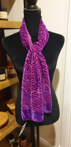 Silk and Rayon Velvet Devoré Scarf - purple lines-Fashion and Accessories-Atelier Crafers