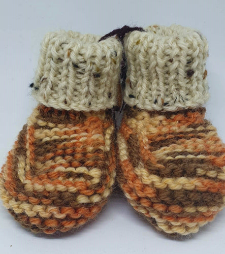 Orange speckle hand knitted baby boots with cream cuff - birth to 6 months-Children-Atelier Crafers
