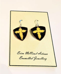 Black with yellow cross enamel on copper earrings by Erica McNicol