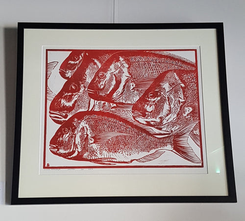 Red Snapper -Limited Edition Lino Print with Ink and Pencil - Silvio Apponyi