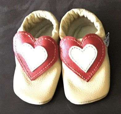 Cream Leather Toddler shoes with red and silver heart detail
