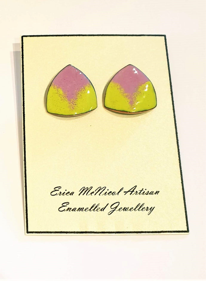 Yellow and Pink enamel on copper stud earrings by Erica McNicol