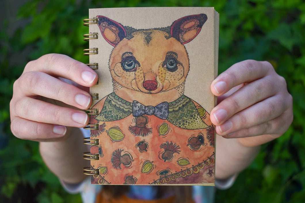 'Brushtail Possum' 100 page A6 Notebook with kraft paper-Stationery-Atelier Crafers