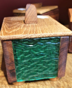 Small Treasure Box- reclaimed timber with green wavy heritage glass