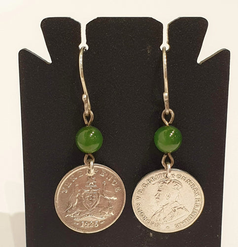 Genuine 1925 Threepence and jade bead earrings-Jewellery-Atelier Crafers