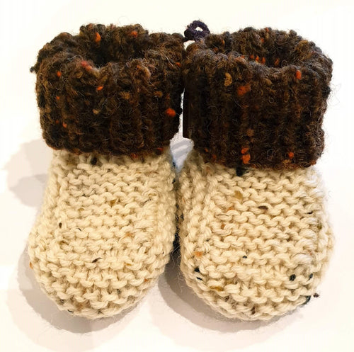 Cream hand knitted baby boots with brown fleck cuff - birth to 6 months - Nikki Dellavia