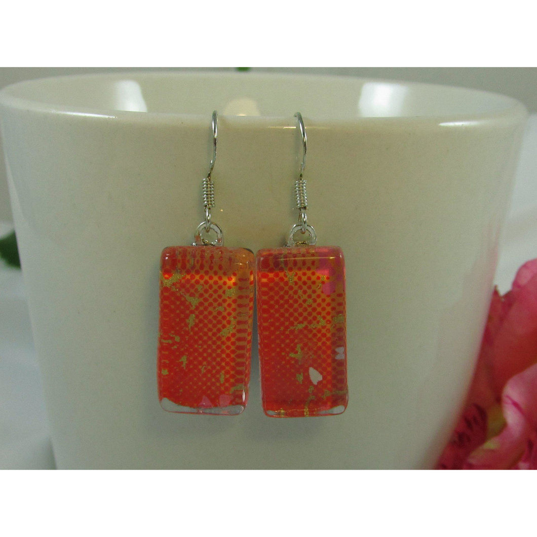 Orange and Gold Chiyogami Paper Earrings - Atelier Crafers
