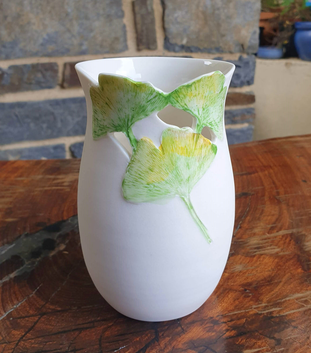 Ginkgo vase - small - porcelain by Just Jane Ceramics-Homewares-Atelier Crafers