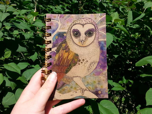 Barn Owl A6 Notebook, Kraft Paper Card, 100 pages - Zinia King-Stationery-Atelier Crafers