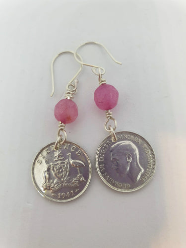 Genuine 1941 Sixpence and Pink Morganite Earrings by Silver Rose Jewellery-Jewellery-Atelier Crafers
