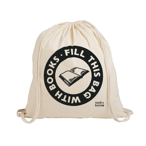 Fill This Bag With Books | drawstring library bag - Atelier Crafers
