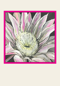 Greeting Card - Acrylic painting of cactus flower by Paula Schetters