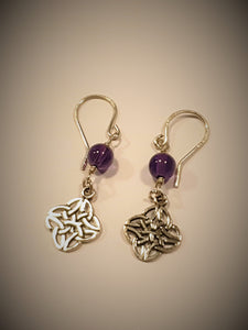 Celtic Amethyst Sterling Silver Earrings-earrings-Atelier Crafers