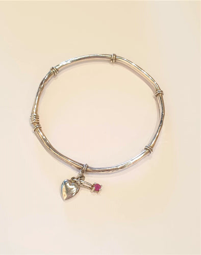 Child's Vintage Japanese Sterling Silver Heart and Ruby bangle - Silver Rose Jewellery