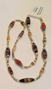 Necklace - Earthy tone coloured handmade beads by Noelene