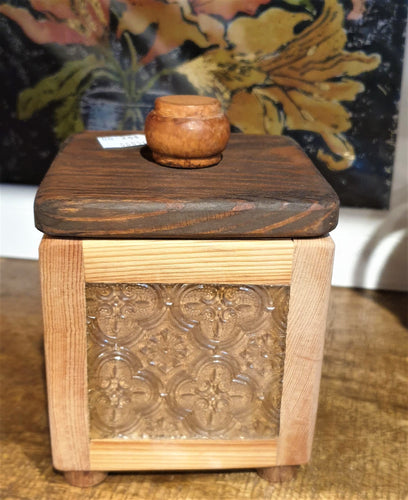 Small Treasure Box- reclaimed timber with clear patterned heritage glass