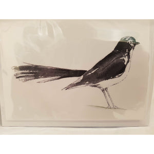 Greeting Card - Willie Wagtail - landscape - Paula Schetters-Stationery-Atelier Crafers