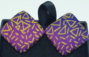 Square hand painted clip on silk earrings-Jewellery-Atelier Crafers