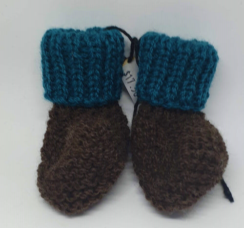 Teal and dark brown hand knitted baby boots - birth to 6 months-Children-Atelier Crafers