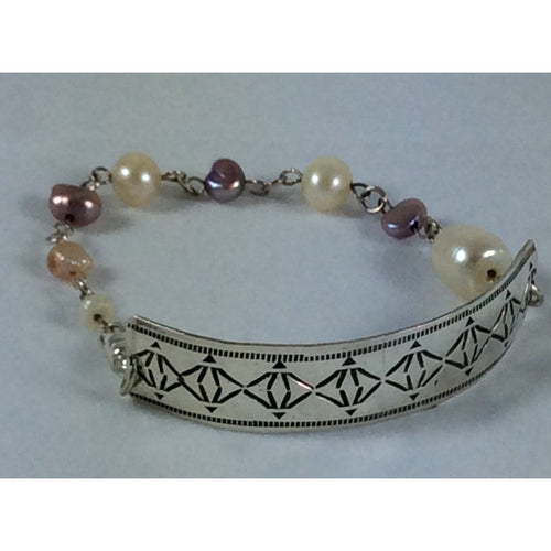Vintage sterling silver bracelet with freshwater pearls-Jewellery-Atelier Crafers