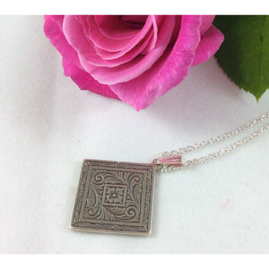 Upcycled Sterling Silver Embossed Pendant - Atelier Crafers