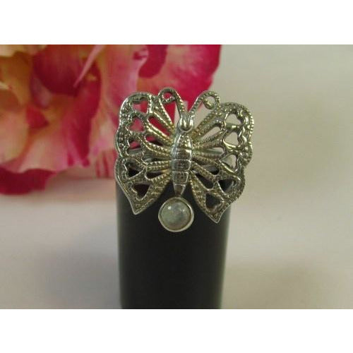 Butterfly and Moonstone Sterling Silver Ring-Jewellery-Atelier Crafers