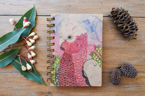 'Galah with Acacia' 100 page A6 Notebook with kraft paper-Stationery-Atelier Crafers