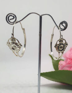 Vintage Sterling Silver Flower hoops - Silver Rose Jewellery-Jewellery-Atelier Crafers