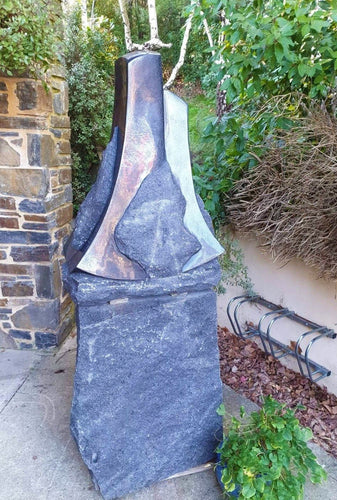 Black Granite Sculpture - Father and Son - Tim Spooner-Art Gallery-Atelier Crafers