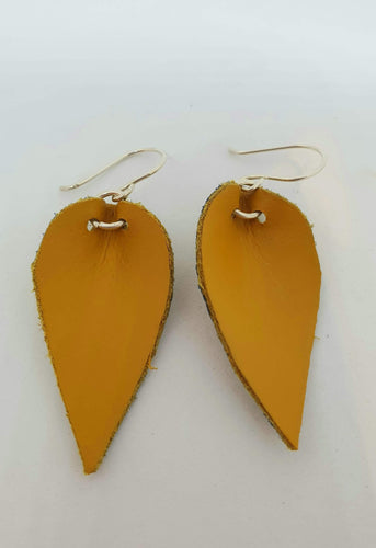 Mustard leather and sterling silver tear drop earrings